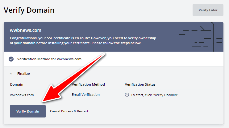 Free ssl certificate for wordpress - SSL Setup 6 - Domain Verification