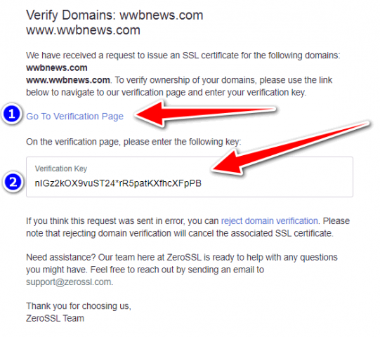Free ssl certificate for wordpress SSL Setup 8 Email Message Verification With Key