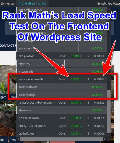 Rank Math Performance Speed Test Results: Frontend